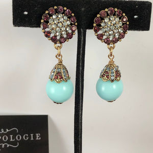 Anthropologie Blue Red & Crystal Fashion Earrings